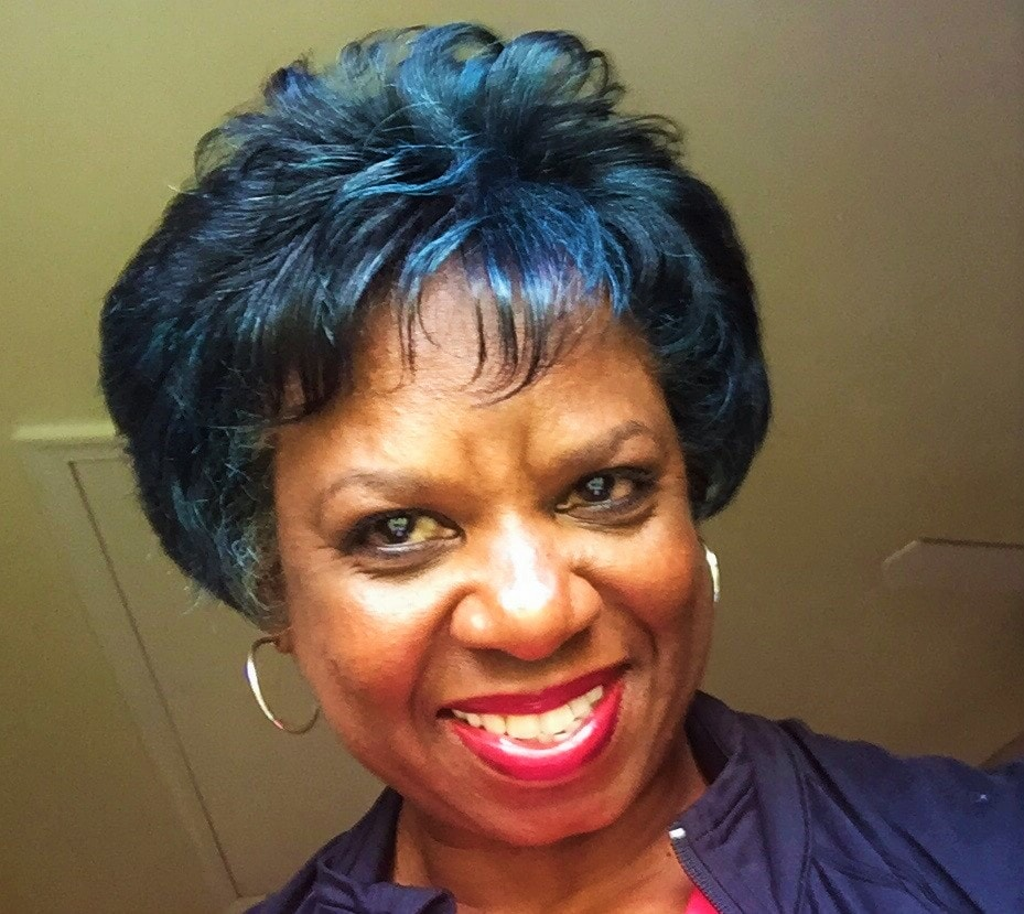 Retired FBI agent Jerri Williams with Blue Hair