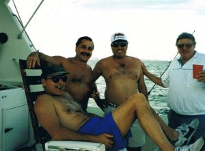First Photo. Undercover on the Abscam boat off the coast of Miami with Donnie Brasco (sitting) and two Cleveland Wise Guys